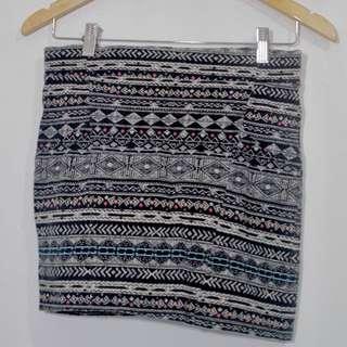 Aztec Bodycon Mini Skirt