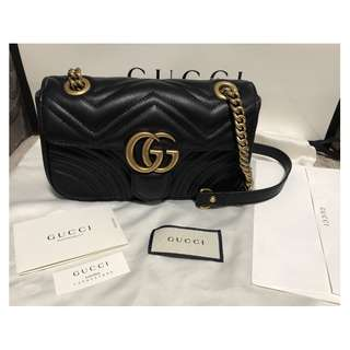 米蘭直送 2018 Gucci GG 2.0 Mini Marmont Black Leather Matelasse Shoulder Bag 手袋