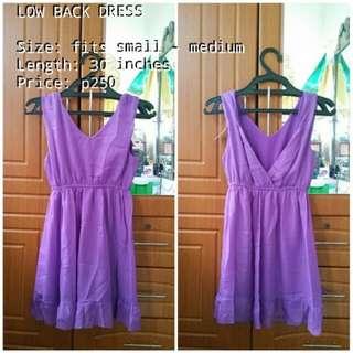 PURPLE LOW-BACK DRESS