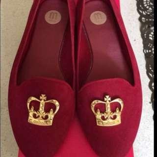 MELISSA 絲絨防水平底鞋