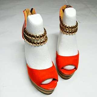 🚚 【22.5/亮橘 木屐楔形鞋】日本小牌 楔形高跟鞋