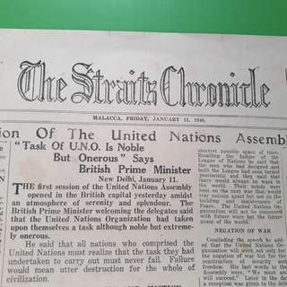 THE STRAITS CHRONICLE - 1946 - MALACCA - 1st Session of the UN Assembly Begins - Newspaper - 2 pages - in153