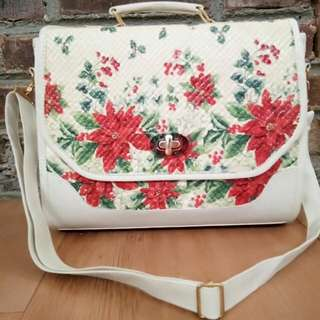Postman bag (white)-decoupage bag