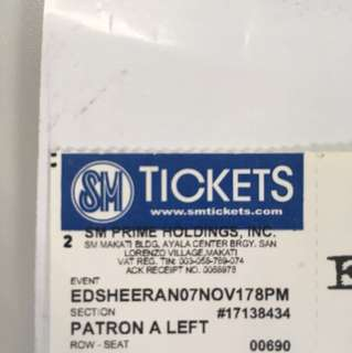 Ed Sheeran Patron A 1 ticket