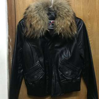 Blue heroes leather jacket