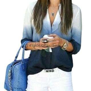 Blue ombré gradient blouse