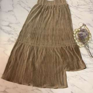 Made in Korea Khaki Velvet Skirt