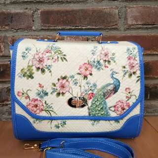 Postman bag (blue)-Decoupage bag