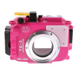 SeaFrogs 195FT/60M Underwater camera waterproof housing for Olympus TG-5 Pink