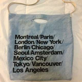 American Apparel City Print Denim Tote Bag
