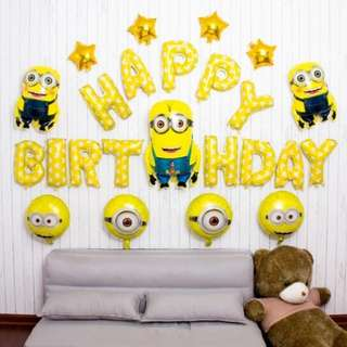 🦄 [Instock] Happy Birthday Party Balloon Sets - Minions (Despicable Me)