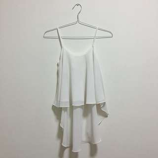 White Assymetric Flare Sleeveless Tanktop