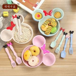 Mickey / Minnie Kids wheat bowl set (comes with fork and spoon)