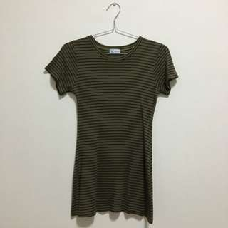 Army Green Stripes Knit Top