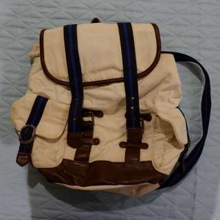 Forever 21 Canvas Backpack with Leather Detail