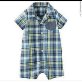 *24M* Brand New Carter's Plaid Romper For Baby Boy
