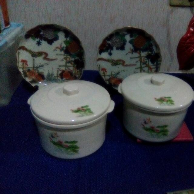 2 PCs,Selling  As A Set, Serving Bowls With Lids, Babasagin,Ceramic