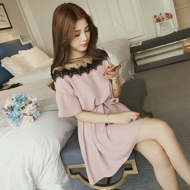 c023ba60dc7dc 4xl plus big size women clothing 2018 spring summer style korean new mesh  stitch pink black cute sweet party dress female A4299