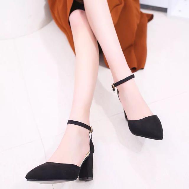 韓版高跟鞋高根鞋尖頭中跟粗跟絨面女鞋