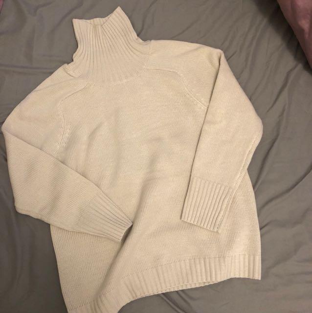 高領混羊毛針織毛衣
