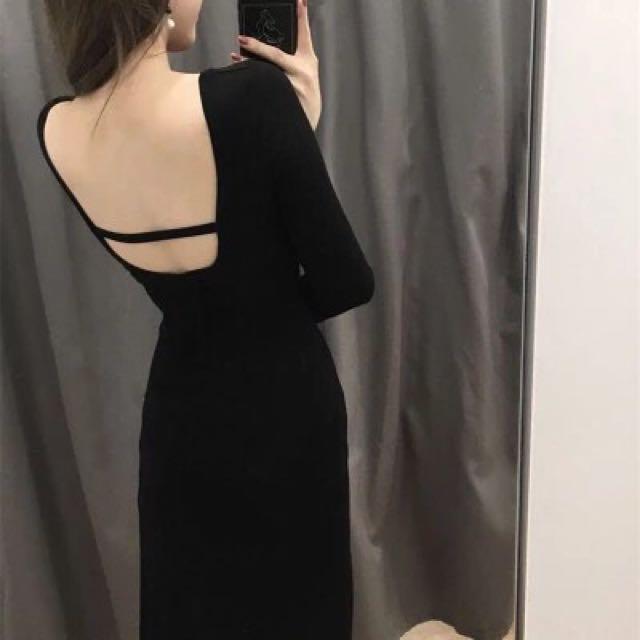 露背一字顯瘦莫代爾棉質連身裙