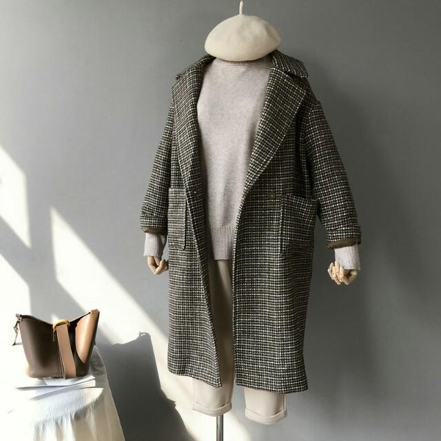 韓單格紋厚毛料外套
