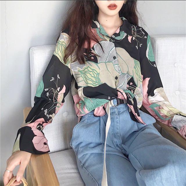 全新 雪紡復古花質感襯衫