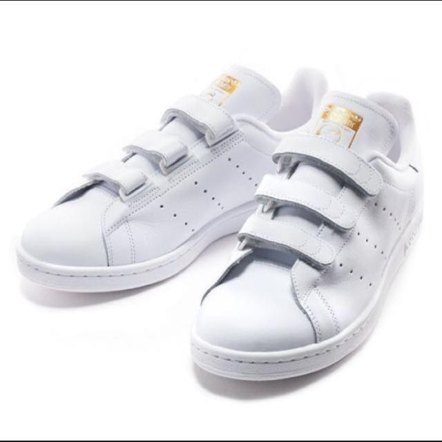 0e34141c38296a Adidas Stan Smith Velcro CF White Gold