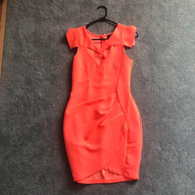 Ally neon orange statement dress size 6