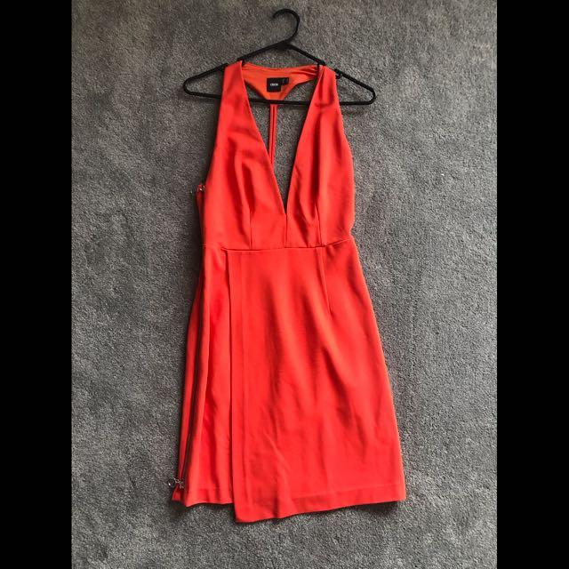 ASOS orange halter back with zip detail 6