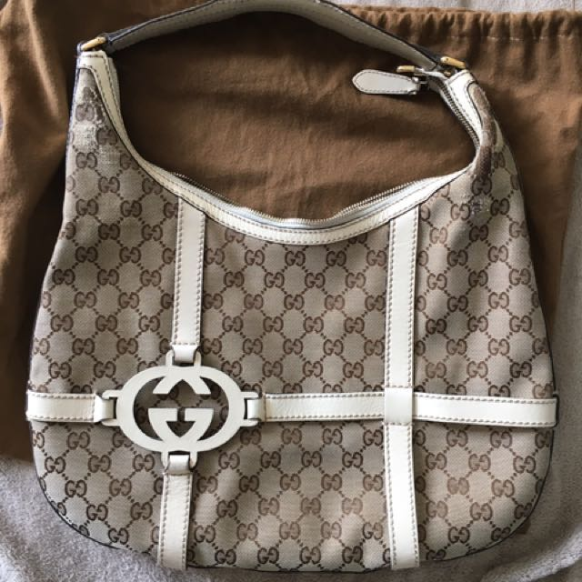Authentic Gucci Logo Hobo With White Leather
