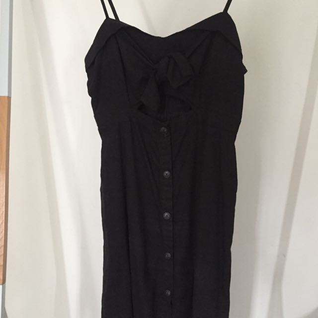 Bardot Black Linen Midi Dress with Tie Top