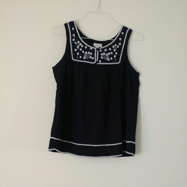 Beaded Black And White Top