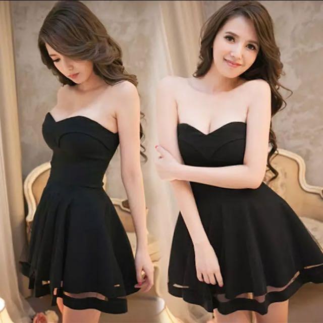 Black Bustier Tube Dress