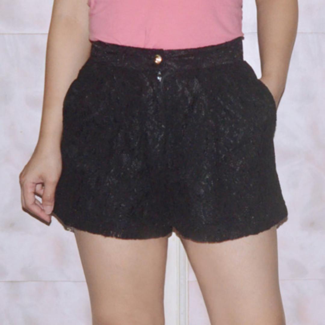 Black Lacey Korean Shorts