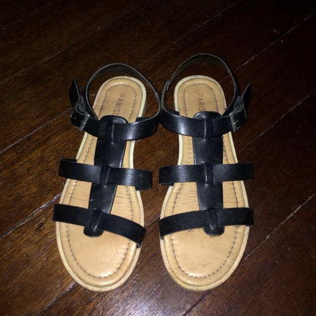 Black Strap-py Sandals