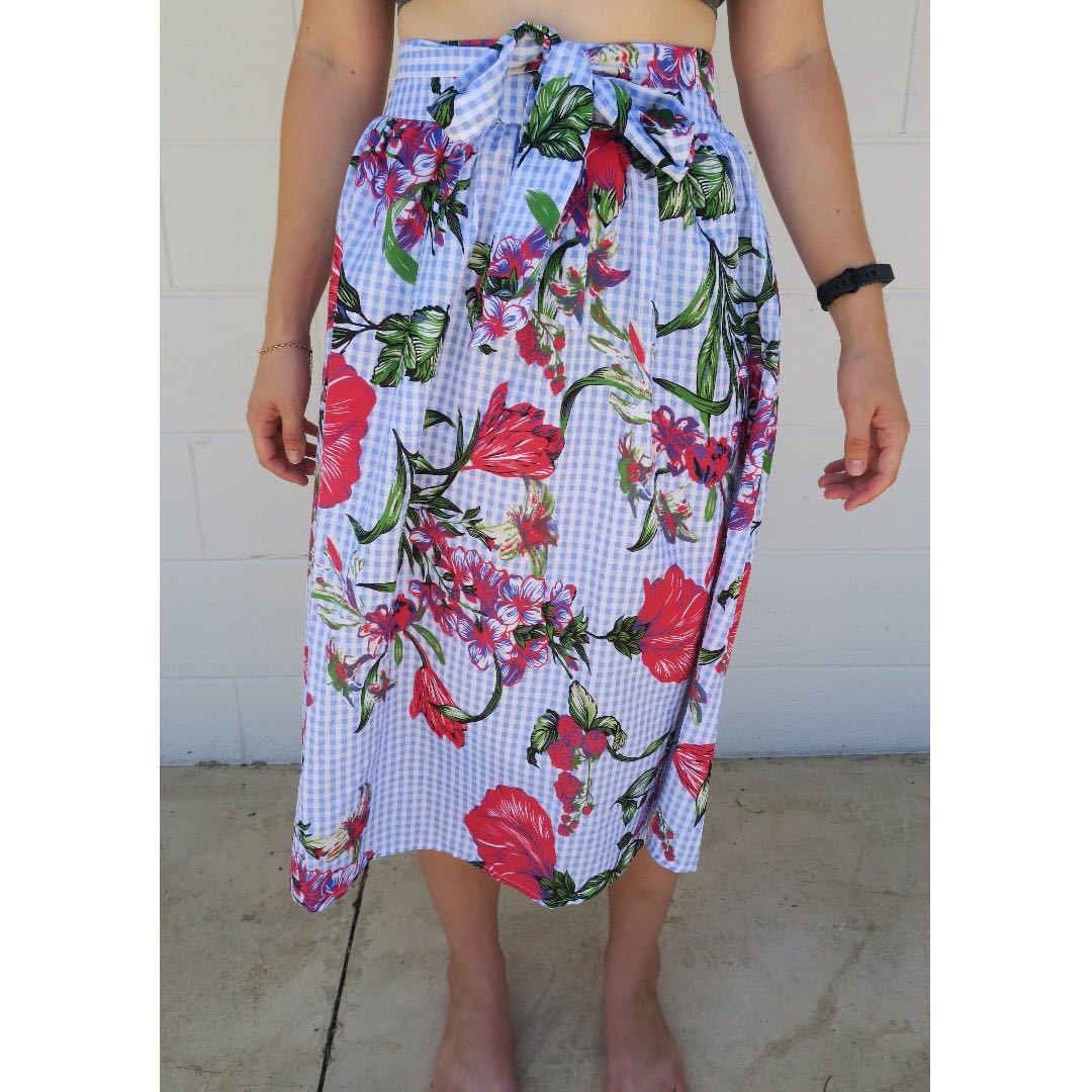 Blue and Red Floral Midi Skirt