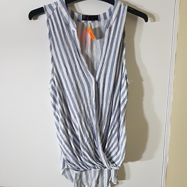 Blue and white striped top