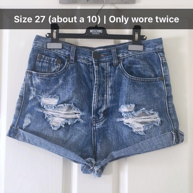 Blue Distressed High Waisted Denim Shorts