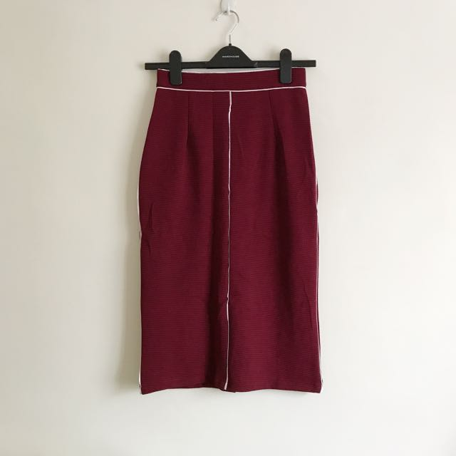 BN Maroon Red Midi Pencil Skirt