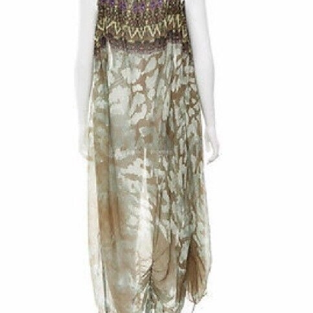 BNWT CAMILLA natural leopard one arm kaftan black brown silk dress