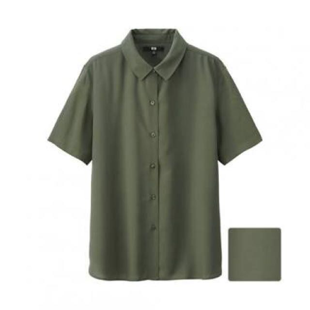Brand New UNIQLO Rayon Short Sleeve Shirt in Army Green