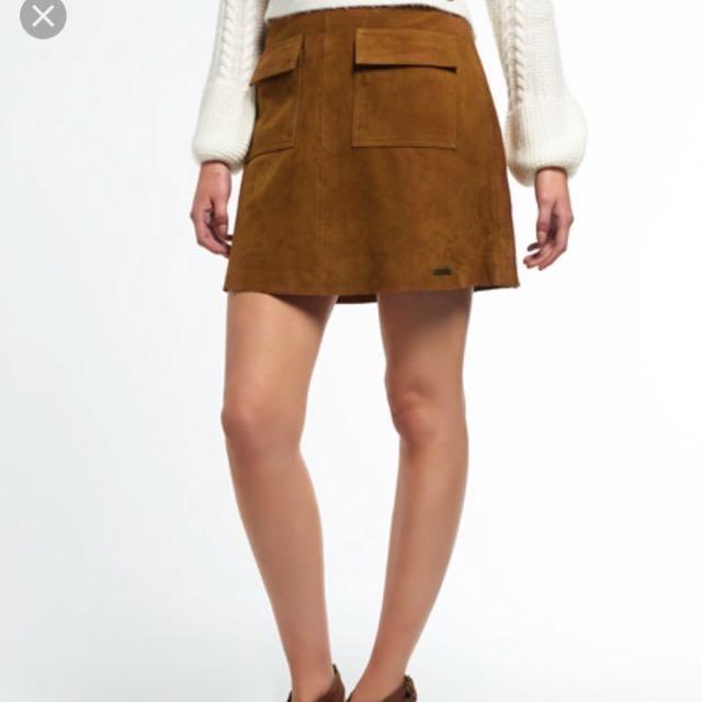 Brown sueded pocket skirt