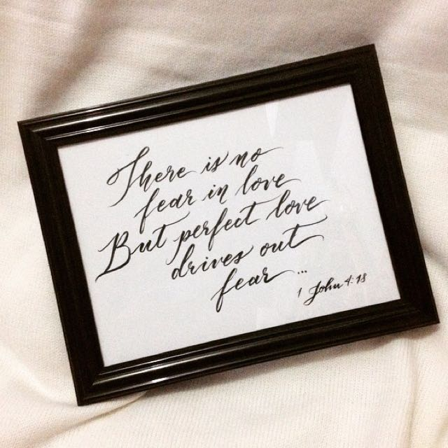 Calligraphy on frame for Valentines Day