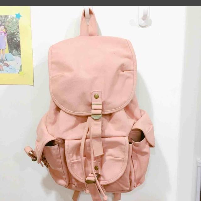 Celia 。 風中小舖 甜美  粉紅帆布 後背包