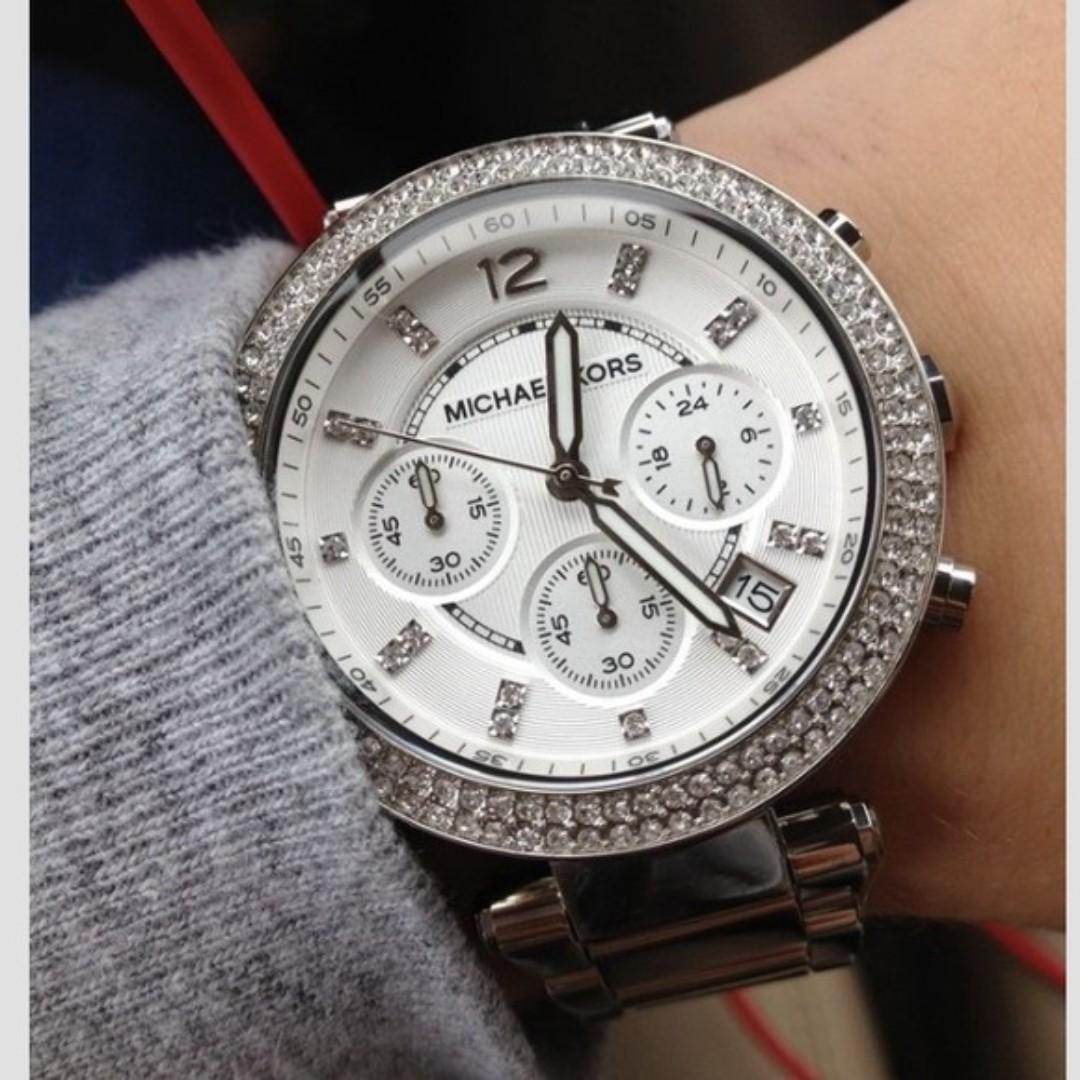 8f1b61a435d0 Authentic MICHAEL KORS MK MK5353 Parker Silver-Tone Bracelet Watch ...