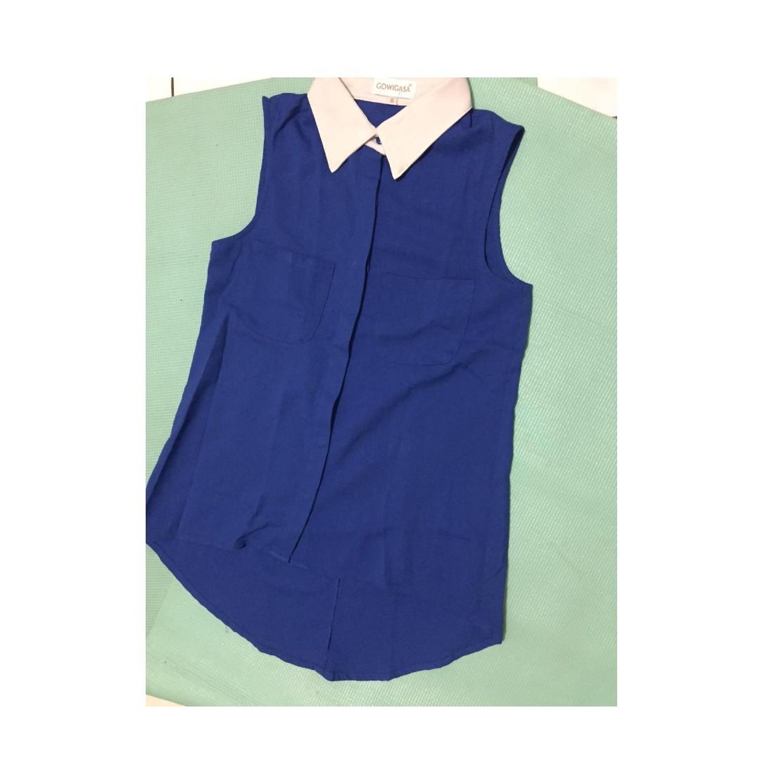 colourful dual pocket top eletric blue