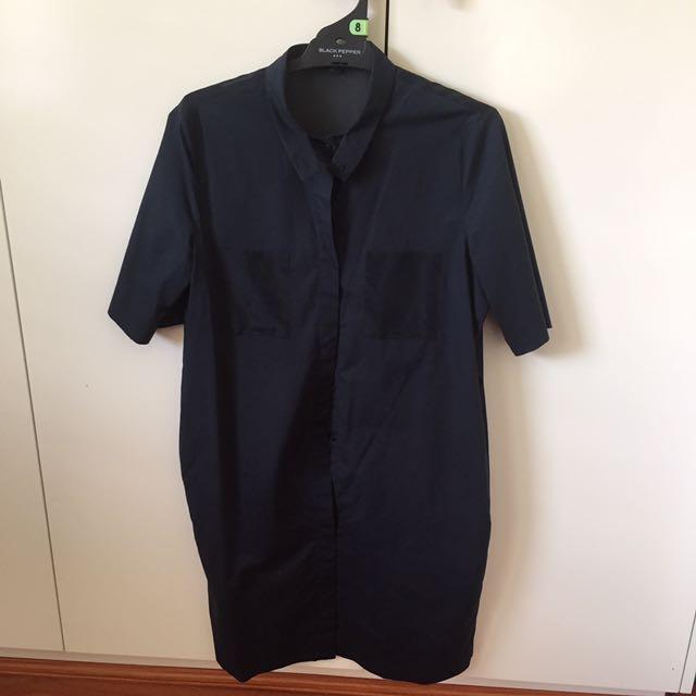 COS navy silk cotton shirt dress
