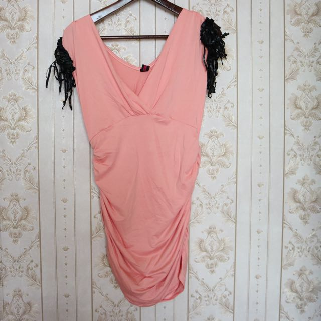 Dress pink rumbai body fit