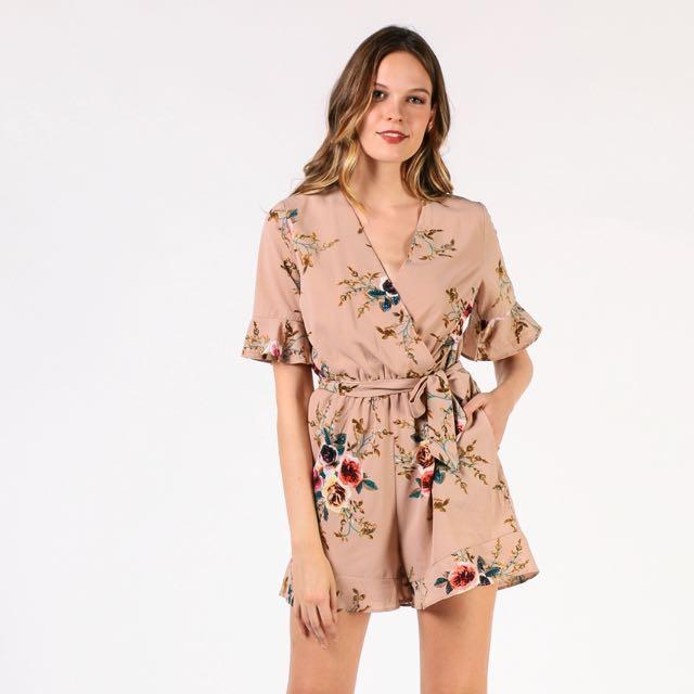 6d2685e6b69 Dressabelle nude floral jumpsuit